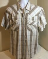Canyon Guide Outfitters Brown Beige Plaid Pearl Snap Western Cowboy Shirt XL FS