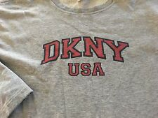90S VTG DKNY Spelled out USA Gray GRAPHIC LS shirt OG DONNA KARAN NYC RAP TEE