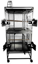 2422-2 Black - 24''x22''x64'' Double Stack Cage with PlayTop