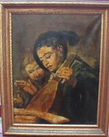 Antique Original Oil Painting on canvas,Young Lute Player, Signed,Framed,Dated