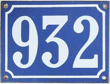 Large old blue French house number 932 door gate plate plaque enamel steel sign