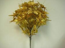 """GOLD Christmas Poinsettia Bush 24 Artificial Silk Flower 24"""" Bouquet 3024GD"""