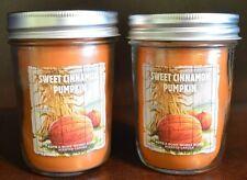 2 BATH & BODY WORKS SWEET CINNAMON PUMPKIN MASON JAR SCENTED CANDLE ORANGE CUTE