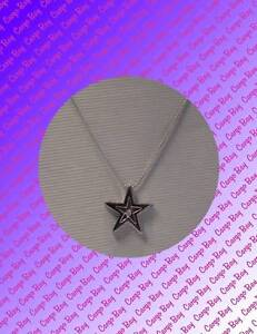 Sterling Silver Star Diamond Pendant Necklace Free Shipping & Gift Box