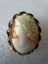 Profile Gold Twist Frame Brooch Antique Carved Shell Cameo Woman's