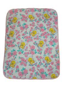 "Vintage TWEETY BIRD Looney Tunes Baby Crib Quilted Blanket 42""x 53"" Pink & Sheet"