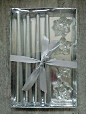 4 x Taper Candles & Star Glass Holder Set Brand new