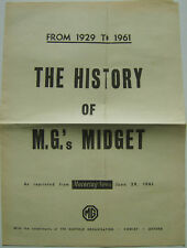 MG Midget 1929-1961 History from Motoring News and issued by Nuffield