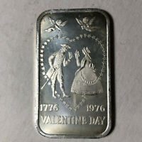 1976 Madison Mint Valentine Day 1 Ounce .999 Silver Art Bar