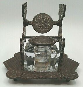 Antique Judd Inkwell Cast Iron with Glass Insert - Pat. Nov 25 1879