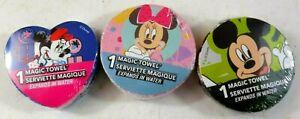 Disney Magic Towels Lot Of Three 11.5 x 11.5 Expands In Water 29.2cm x 29.2cm