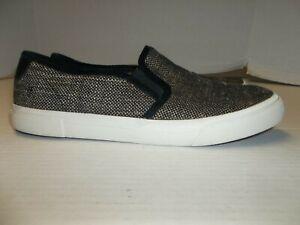 Womens Size 9.5M Frye Beige/Black Woven Fabric Slip On Loafers