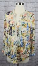 Anthropologie Maeve 2 Blue Yellow Patchwork Pleat Lightweight Cotton Blouse