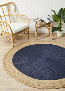 ALISON JUTE RUG ROUND BLUE Navy Beige Circle Large Carpet mat FREE POST*