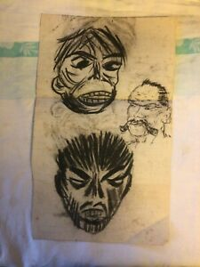 Unusual OOAK Charcoal Outsider Art Criminal Art Face Drawing Sketch