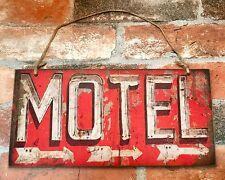 """MOTEL Vintage Hanging Wood Directional Sign, 6"""" x 12"""""""