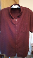 gents mens size large  River Island 100% cotton shirt burgundy paisley design