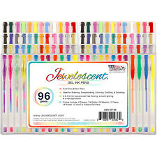 US Art Supply Jewelescent 96pc Gel Pen Set Glitter, Metallic, Neon (48 Colors)