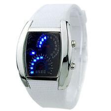 EPIC TIME- Modern White Chrono Blue Flash Dial Dot Matrix LED Racing Watch
