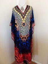 Kaftan tunic embellished breezy sheer , swim coverup or loungewear New
