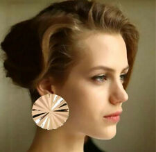 STATEMENT BIG ROUND GOLD STUD EARRINGS 40MM