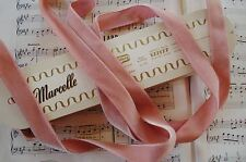 "1y VTG SWISS 7/8"" ROSE PINK LUSH RAYON VELVET MILLINERY RIBBON WORK TRIM FRENCH"