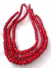 ONE Graduated Red Coral Branch 1/3 to 4/5 Inch Long Bead 15 Inch Gem Strand cb51