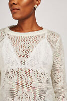 Womens Off White Loose Patterned Crochet Knit Jumper off White Sizes XS-S-M-L-XL
