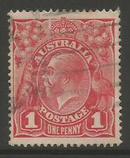 STAMPS-AUSTRALIA. 1914. 1d Carmine Red. Die I. Plate Flaw. SG: 21 var. Fine Used