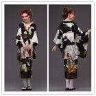 Black Japanese Kimono Vintage Yukata Haori Cosplay Costume Retro Geisha Dress