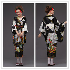 Black Japanese Kimono Vintage Yukata Haori Cosplay Costume Retro Geisha Dress