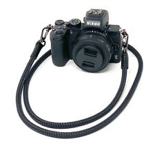 """Cordy Slim QR"" Black Rope Cord & Leather Camera Strap, 50in/127cm - Cordweaver"
