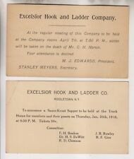 2 1908 & 1916 Postcards - Excelsior Hook And Ladder Company Middletown New York