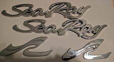 BRAND NEW SeaRay Sea Ray Script Chrome Badge Boat Emblem Set OEM Adhesve Backing