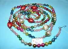 """Vtg~97"""" XMAS GLASS Garland~STRIPED SPACERS & 2"""" TEARDROPS~ Beads PINK 3/8 + 1/2"""""""