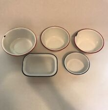 Vintage Enamelware Metal Bowls and Dishes KER Sweden - Not All Marked - Lot 5 Pc