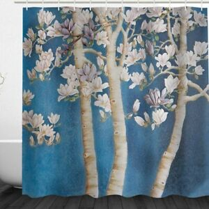 Shower Curtain Cartoon White Magnolia Flower Design Polyester Fabric 72 inch