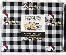 New Peanuts Snoopy Woodstock Santa Hat Queen Sheet Set Black/White Buffalo Plaid
