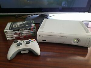 Xbox 360 Console + Controller + 5 Games 120 gb Hard Drive Free Postage