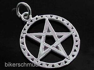 Pentagramm Anhänger im Kreis 925 Silber mit Lederriemen Gothic Schmuck Geschenk