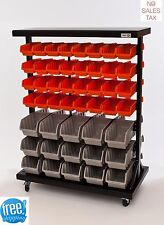 7 Shelf Commercial Bin Rack System Mobile Dual Sided Wheeled Storage Organizer