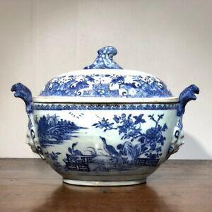 Chinese Export tureen, Meissen style with head-handles, c.1745