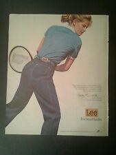 1983 Kathy Rinaldi Tennis Player Lee Jeans Fashion Memorabilia Blue Shirt Ad