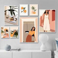 Abstract Fashion Woman Wall Art Canvas Painting Vintage Poster Minimalist Print