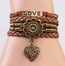 brown LOVE Heart Flower Friendship Antique Copper Leather Charm Bracelet HS8