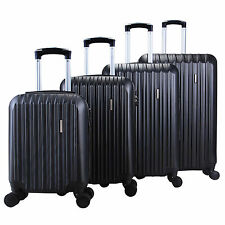 4Pcs Luggage Travel Bag ABS Trolley Rolling Suitcase Set TSA Lock Modern Black