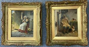 Alexander Austen Pair Of Oils On Canvas Farmer & His Wife