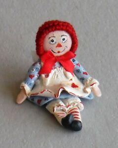 "Vintage Dollhouse Miniature Artist Signed Kemp Toy Doll Raggedy Ann 7/8"" P936"