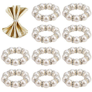 10PCS Pearl Napkin Rings, Stretched Pearl Rhinestone Beaded Napkin Ring Holder