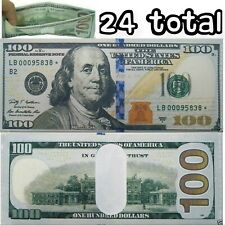 24 Pack - 100 Hundred Dollar Bill Wallets Money Bi-Fold Card Holder - US SELLER